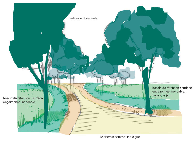 Atelier Alice Tricon / Jardins / Paysages - Montereau - Montereau Fault Yonne (77) - Croquis sur chemin digue