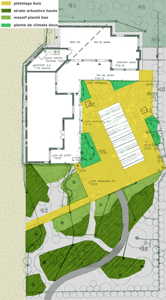 Atelier Alice Tricon / Jardins / Paysages - Cap Ferret <br> Jardin privé - Les Vallons du Ferret (33) - Cap Ferret Jardin Plan projet Alice Tricon