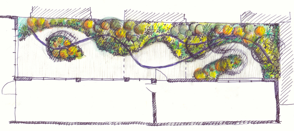 Atelier Alice Tricon / Jardins / Paysages - Passage Soupirs<br>Jardin privé - Paris (75020) - Esquisse