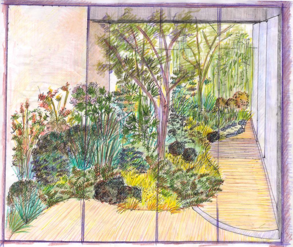 Atelier Alice Tricon / Jardins / Paysages - Passage Soupirs<br>Jardin privé - Paris (75020) - Esquisse vue du séjour
