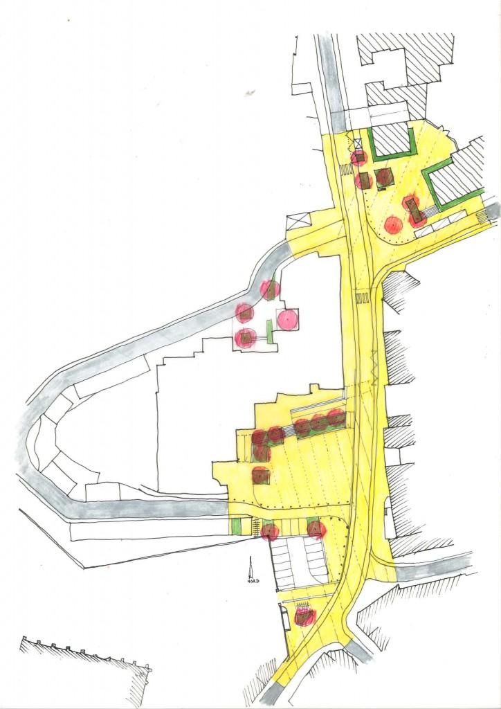 Atelier Alice Tricon / Jardins / Paysages - Place Victor Hugo<br>Fourqueux - Fourqueux (78) - Fourqueux place Victor Hugo esquisse d'aménagement  Alice Tricon