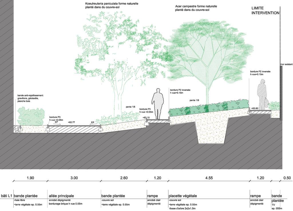 Atelier Alice Tricon / Jardins / Paysages - Les Céramiques<br>opération immobilière - Montreuil (93) - Opération immobilière à Montreuil Céramiques Profil projet Alice Tricon