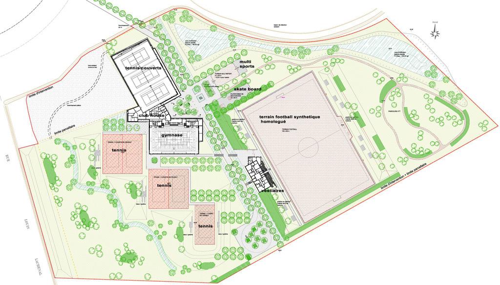 Atelier Alice Tricon / Jardins / Paysages - parc des sports<br>San Sénart - Saint Pierre du Perray (91) - Parc des Sports Saint Pierre du Perray San de Sénart Plan masse Alice Tricon