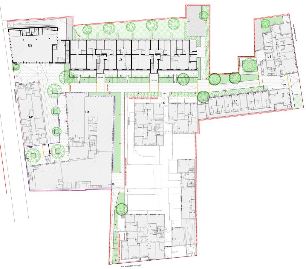 Atelier Alice Tricon / Jardins / Paysages - Les Céramiques<br>opération immobilière - Montreuil (93) - Parking vélosPlan masse