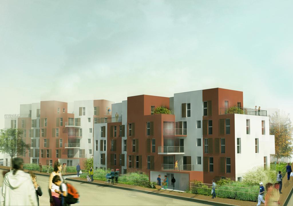 Atelier Alice Tricon / Jardins / Paysages - Buchelay <br> Opération de logements - Buchelay, Mantes-Université (78) - perspective projet