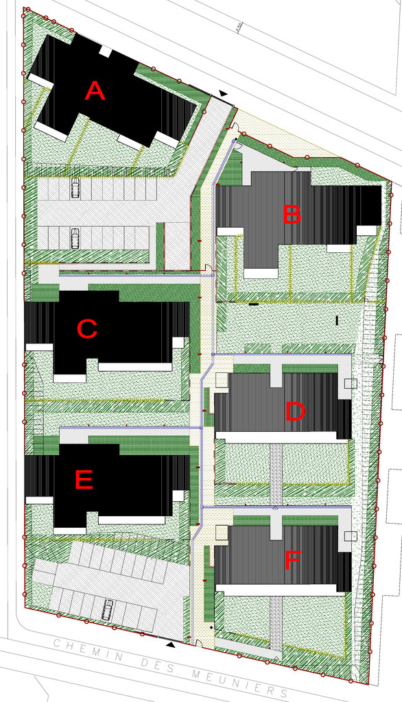 Atelier Alice Tricon / Jardins / Paysages - Buchelay <br> Opération de logements - Buchelay, Mantes-Université (78) - plan projet
