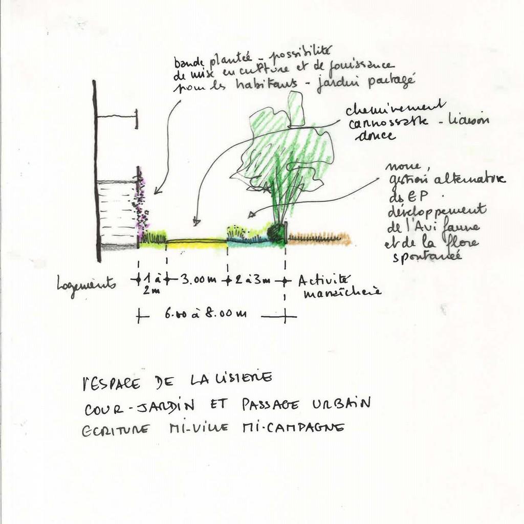 Atelier Alice Tricon / Jardins / Paysages - LES JARDINS PERCHES - TOURS HABITAT (37) - espace de lisière jardiné Alice Tricon Les Jardins Perchés Abel Gance Tours Habitat attivité maraichère  milieu urbain